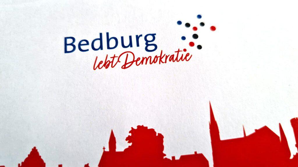Logo, Flyer und Plakte für die Stadt Bedburg