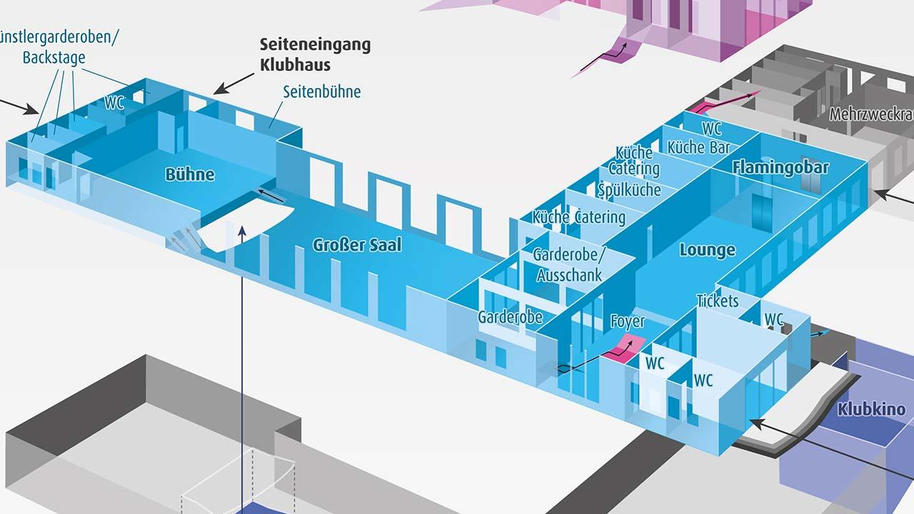 Klubhaus Ludwigsfelde: Gebäudeplan in 3D