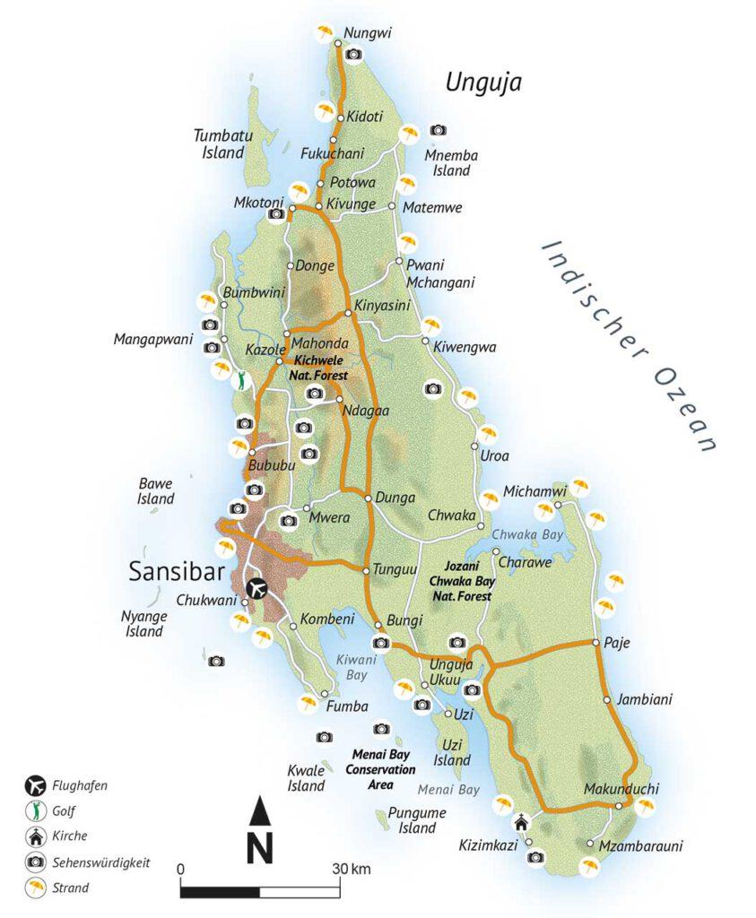 alltours Karte von Sansibar