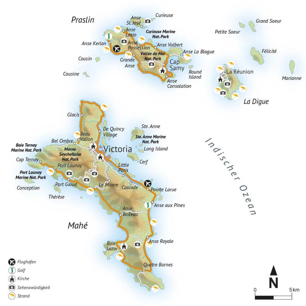 alltours Karte Von den Seychellen